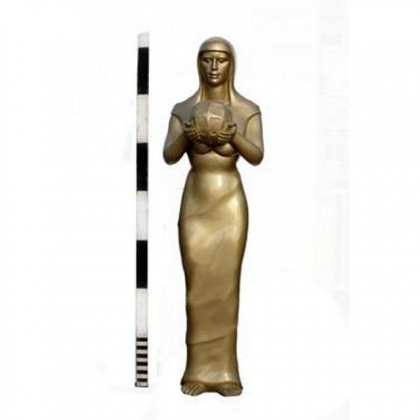 Statues X8  2050 Tall X400W  Female Statue Holding Orbs Round Bases To Match