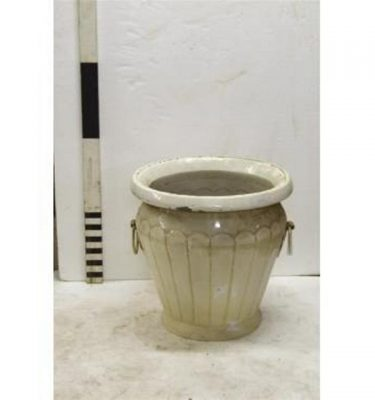 "Urn X 2 Off Metal Palm Leaf Design 23"""""""" X 24"""""""" Dia"