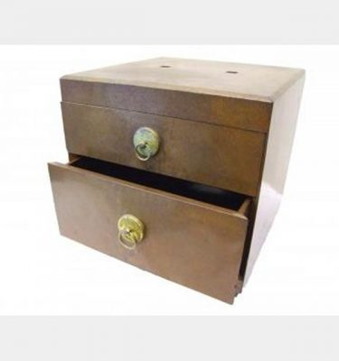 Gold Lacquered 2 Draw Box   280X280X280