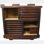 Stained Wood Cabinet On Wheels 1610X1700X920Mm