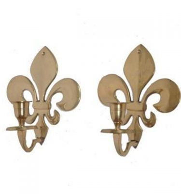 Fleur De Lise Wall Mounted Candle Sconces X2  150X151
