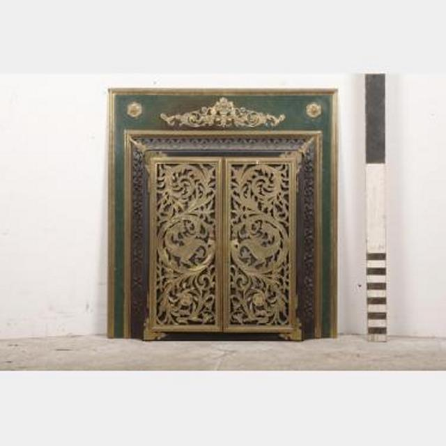 "Insert Brass And Green Ornate Insert With Doors 34""""""""X32"""""""""
