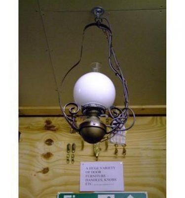 Hanging Oil Lamps Banjo Style Opal Globe  X 12