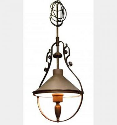 Mock Bronze Hanging Lamp With Terracotta Coolie Shade 1400X540Mm
