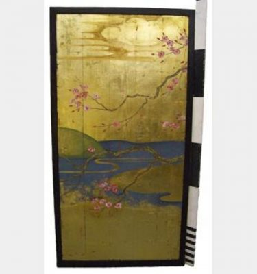 Gold Panel With Cherry Blossom 1800Hx90Mm