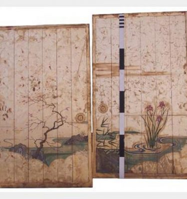 Wooden Sliding Panels With Gold Painting X2 2340X1280Mm Can Be Put On Tracks