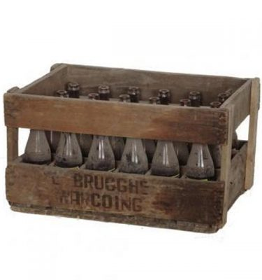Wooden Crate And Bottles X2  285X530X340
