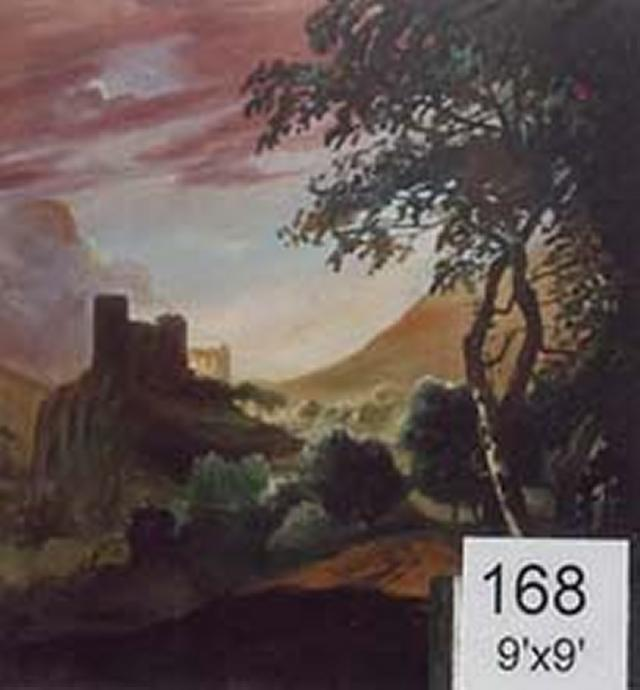 Backdrop 168 Valley View With Castle Ruins 9'X9'