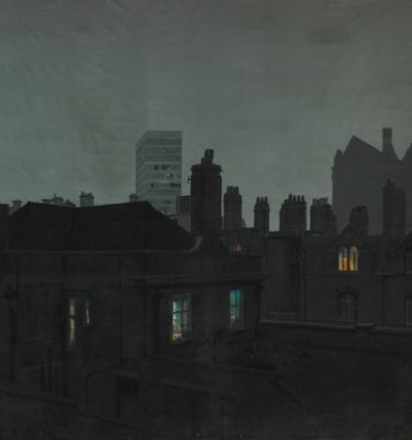Backdrop 293 Terraced Street Roof View Night 12'X12'