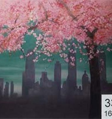 Backdrop 336 Skyscraper Skyline, Blossom Trees 16'X12'