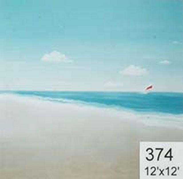 Backdrop 374 Simple Beach Scene With Yacht 12'X12'