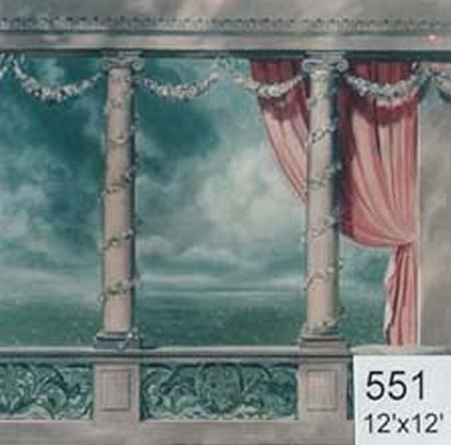 Backdrop 551 Classic Balustrade With Curtain 12'X12'