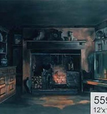 Backdrop 559 Farmhouse Kitchen Fireplace 12'X18'