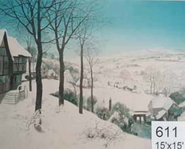 Backdrop 611 Snow Country Scene Breugel Style 15'X15'
