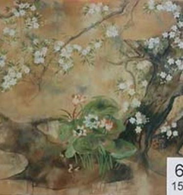 Backdrop 677 Chinese Screen With Cherry Blossom & Lily Pads 15'X12'