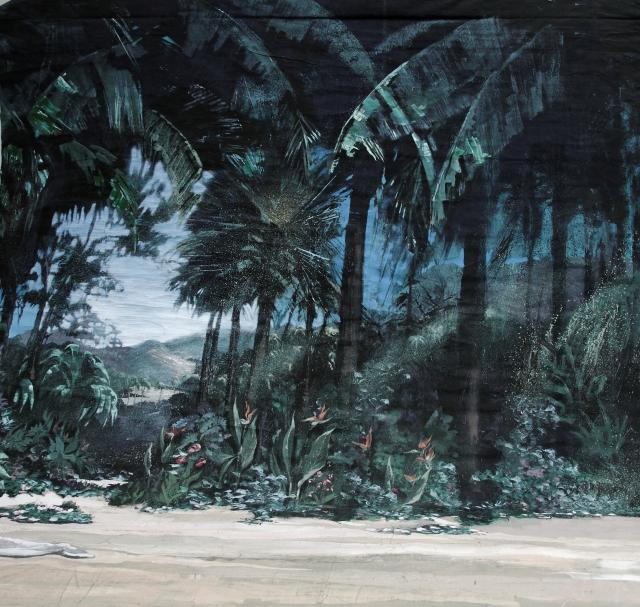 Backdrop 754 Tahiti Mountain Backdrop With Greenery 10'X13'