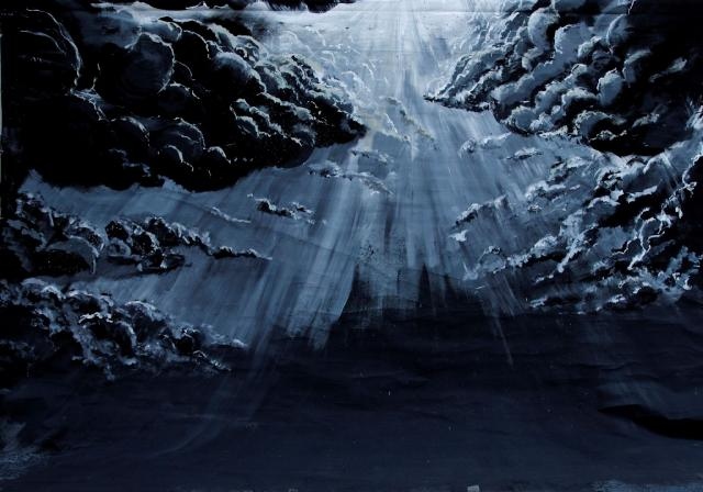 Backdrop 756 Black And Grey Dramatic Light Sky 11'X9'