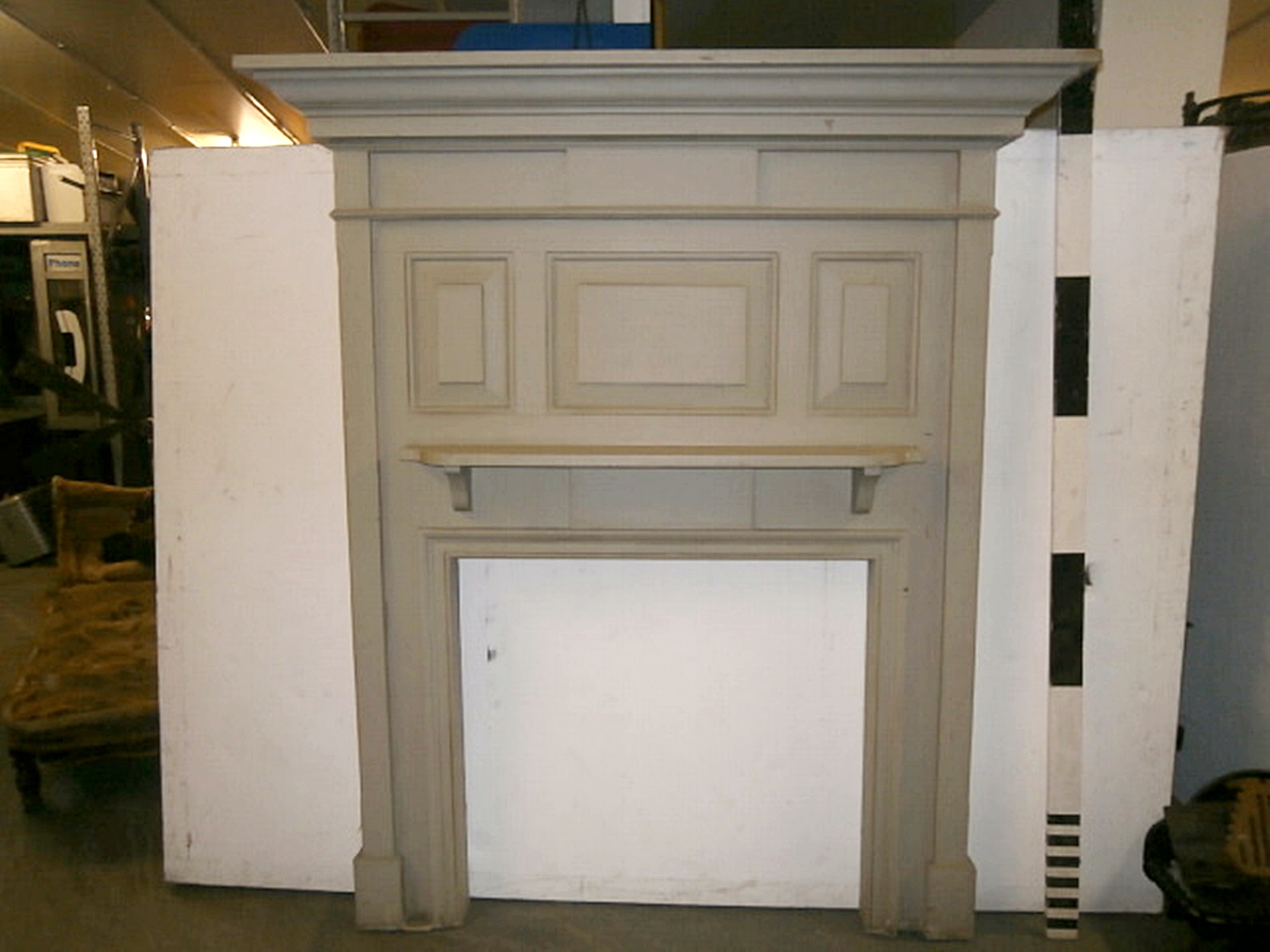 Amazing 0047427 Grey Painted High Wooden Panelled Fire Surround Download Free Architecture Designs Meptaeticmadebymaigaardcom