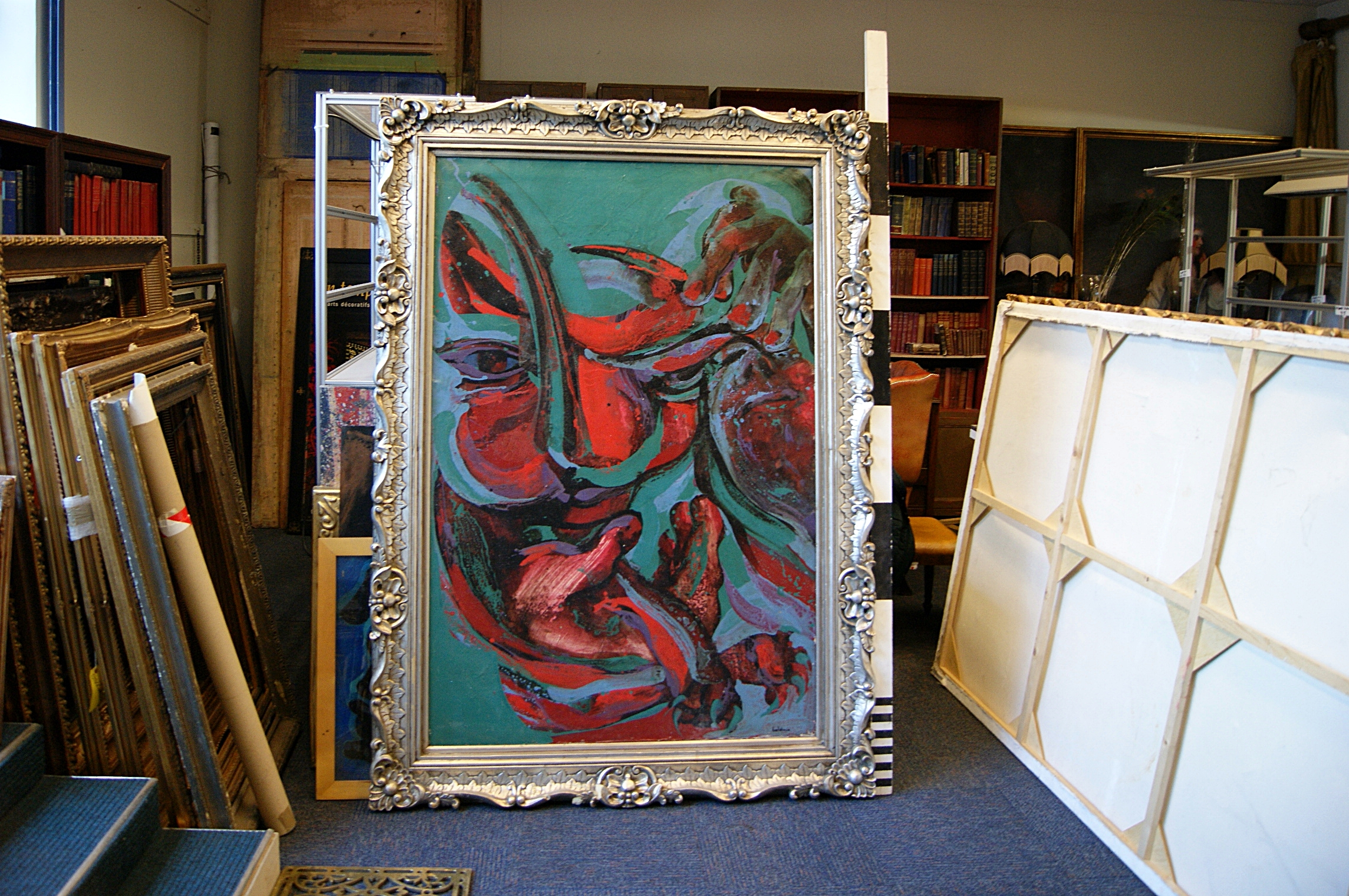 1603047 / M / Large Abstract Oil Painting On Canvas In Frame ( H ...