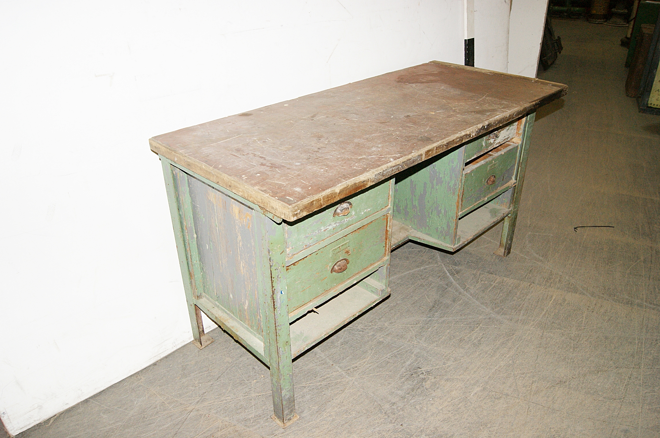 Wooden workbench with drawers h cm